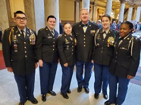 Sammy Davis with some cadets at the Military Veteran Legislative Day event at the Capital